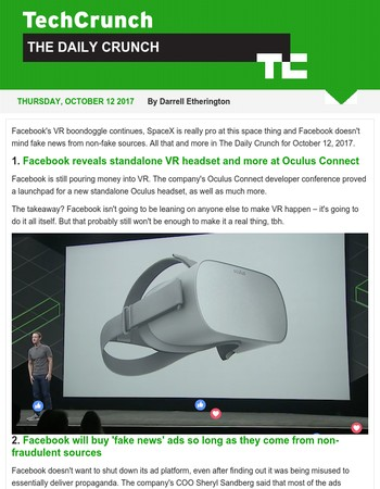 Facebook doubles down on Oculus bet. It's The Daily Crunch.