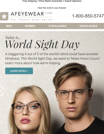 World Sight Day!   50% Off Lenses + Over 45% Off Select Premium Frames