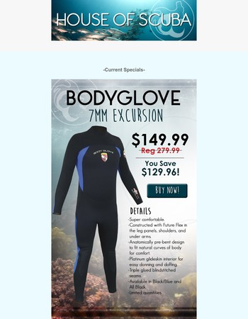 House of Scuba: BodyGlove 7mm Excursion wetsuit SPECIAL for ONLY $149.99! Don't miss out, Limited quantities available.