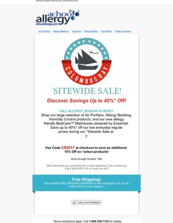 Celebrate Big Savings $$$ at Achoo Allergy! Hurry & shop our *Sitewide Sale & find Great Buys on all your Allergy & Asthma relief products!