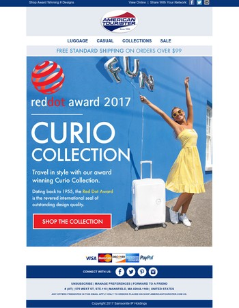 Shop our Red Dot Award Winning Curio Collection & Travel In Style