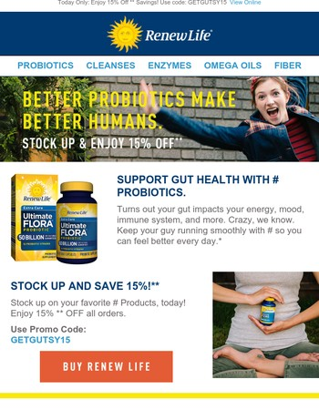 Save 15%** On All Ultimate Flora Probiotics