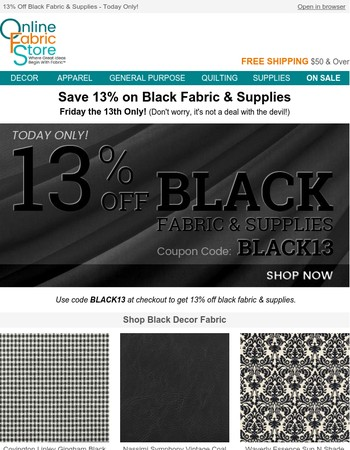 Friday the 13th Flash Sale! Are you bewitched by black?