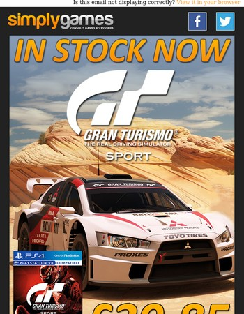 IN STOCK NOW: Gran Turismo Sport ONLY £39.85
