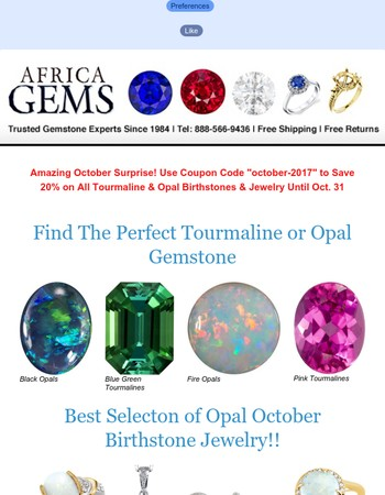 Find the Perfect Gift at AfricaGems 20% Off Sale on All October Birthstones