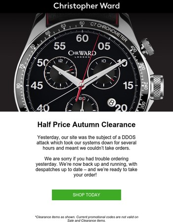 Autumn Clearance back open for business