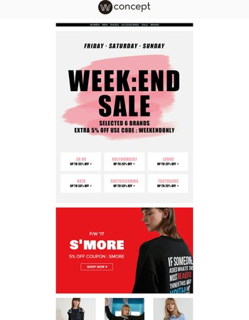 up to 50% OFF Week:End Sale+extra 5% OFF / Just In: S'More