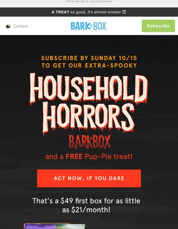 Get a FREE Pup-Pie with our Halloween BarkBox!