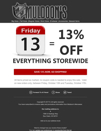 Sitewide 13% Off Sale