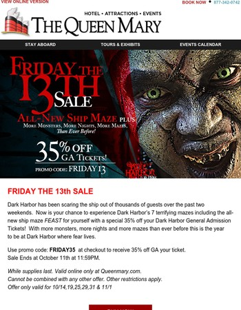 Queen Mary Friday the 13th Deal