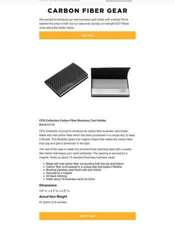 ENDS SUNDAY! 50% off our new carbon fiber business card holder