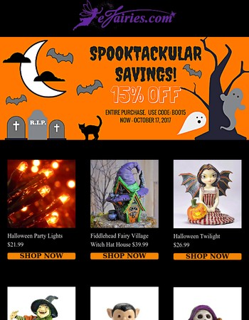 SPOOKTACULAR SAVINGS: Use code BOO15 for 15% off