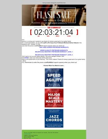 [FLASH SALE] 25% OFF Guitar Fretboard Workout Videos