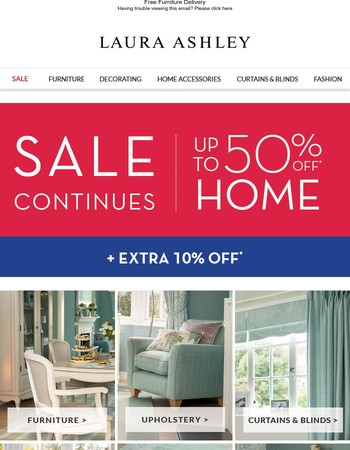 Sale continues with extra 10% off ALL Home Sale