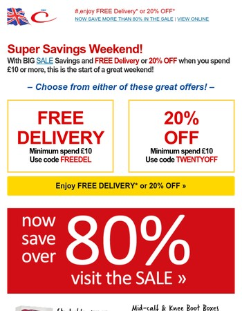 Super Saturday – Today's Best Deals & 20% Off or Free Delivery