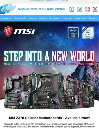 MSI Z370 Motherboards, NEW Shadow Hawk Gaming PC and More Great Deals & Offers at CCLOnline.com!