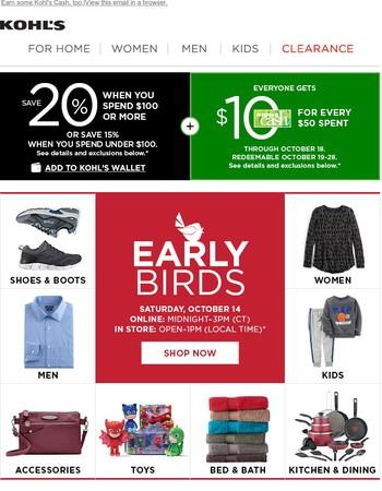 TWEET TWEET--Save on Early Bird deals + Take $10 off!