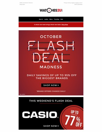 October Flash Deal Madness continues - up to 95% off