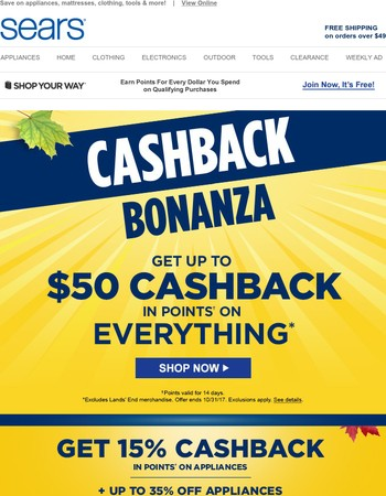 Claim up to $50 CASHBACK in points, because we appreciate you (it's VERIFIED!)