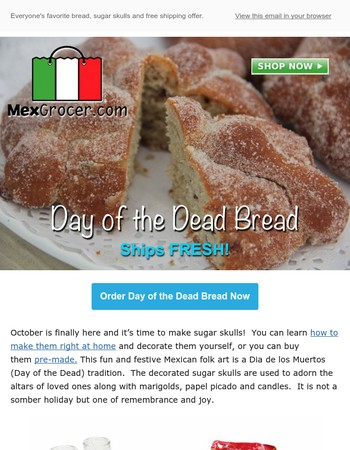 Get your Pan de Muerto and Sugar Skulls