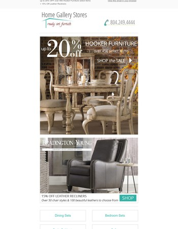 Fall Savings - up to 20% Off Hooker Furniture select items