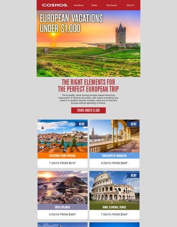 European Trips Under $1,000