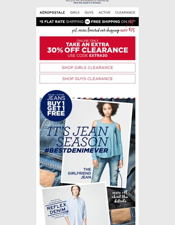 Extra 30% Off Clearance Plus BOGO Free Jeans