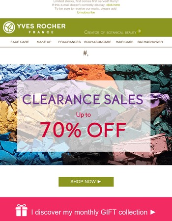 Mary, only few days to enjoy clearance sales up to 70% OFF!