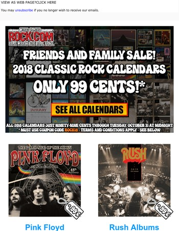 For Rock.com Friends and Family: 99 Cent 2018 Wall Calendars From Rush, Pink Floyd, Grateful Dead, and David Bowie