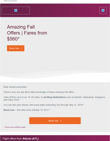 1 day left — Amazing Fall Offers | Fares from $560*