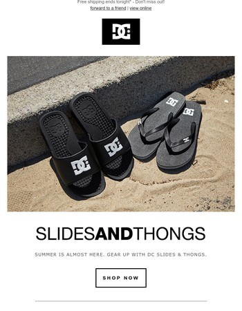 DC Slides and Thongs | Free Shipping Ends Tonight!
