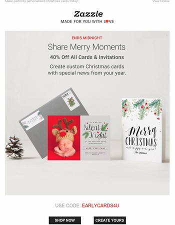 Ends tonight! Take 40% off cards & invites…