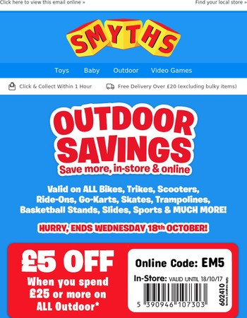 Hurry, FREE £20 OFF Voucher on ALL Outdoor Ends Soon!