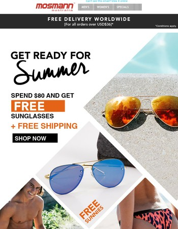 Get FREE SUNNIES when you purchase $80 or more