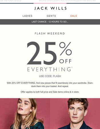 12 HOURS TO GO l 25% off everything