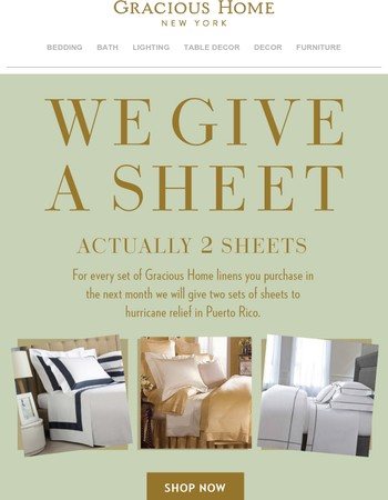 Buy a sheet set, we'll donate two (and final hours for a special offer)