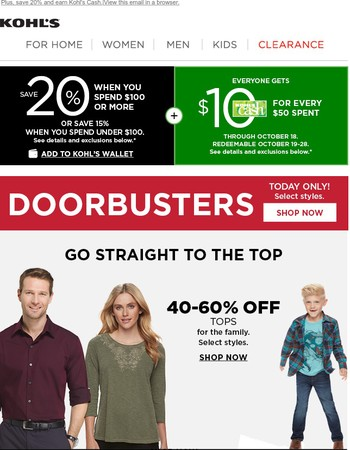 1 day only: Shop Doorbuster deals for the whole family!