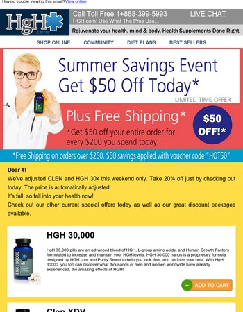 CLEN and HGH 30,000 – get 20% off today