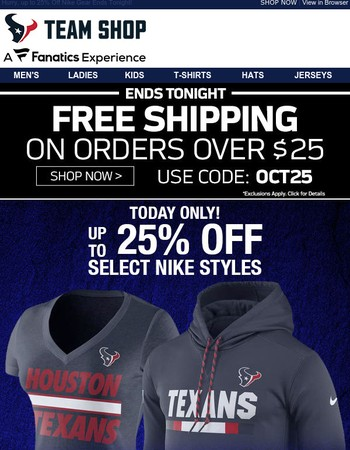 1 DAY...Texans Nike... ON SALE!