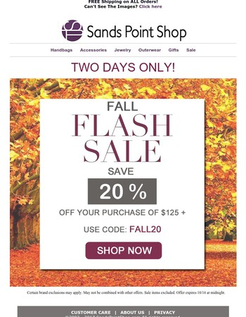 Only TWO Days To Save During Our Fall Flash Sale!