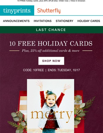 Last Chance for FREE Holiday Cards