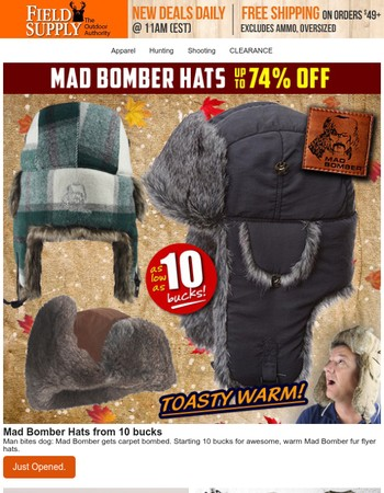 Winter is coming: Mad Bomber fur-lined hats start < $10. Hurry!