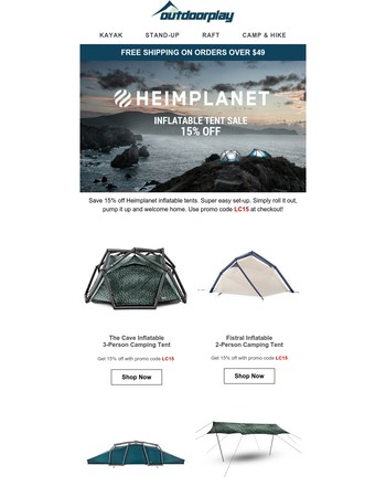 Save Now - Heimplanet Inflatable Tents, Fleece Jackets & Werner Paddles