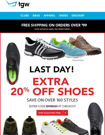 Extra 20% Off Shoe Sale Ends TODAY!
