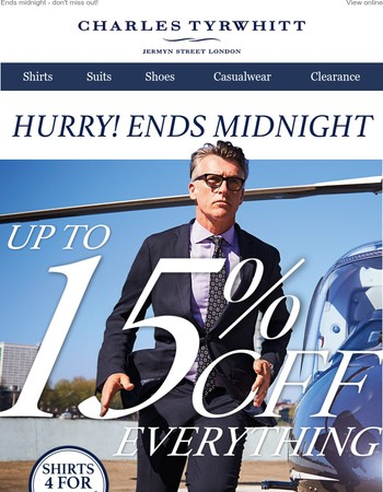 6 HOURS LEFT: Up to 15% off everything!