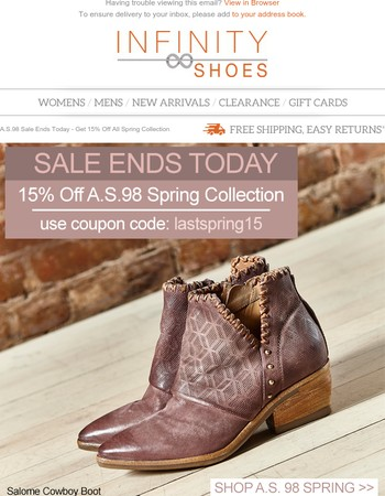 A.S.98 Sale Ends Today - Get 15% Off All Spring Collection