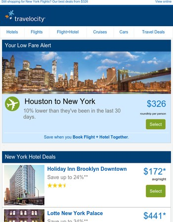 Special notice! We're showing our appreciation with major flight deals for New York – Only $326 >>