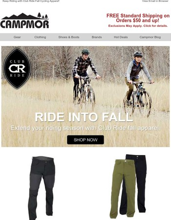 Keep Riding with Club Ride Fall Cycling Apparel!