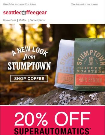 Stumptown's new look + 20% off superautomatics!