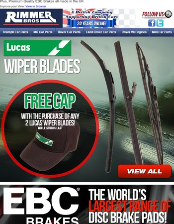 Purchase any Lucas Wiper Blades and Receive a Free Cap!